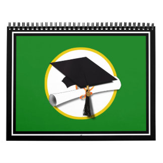 Graduation Cap w/Diploma - Green Background Calendar