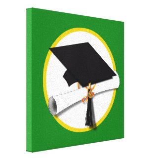 Graduation Cap w/Diploma - Green Background Canvas Print