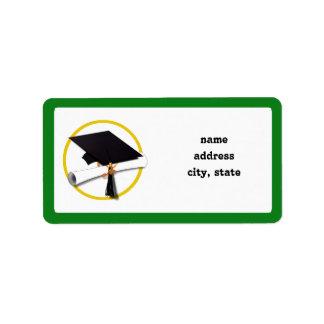 Graduation Cap w/Diploma - Green Background Label
