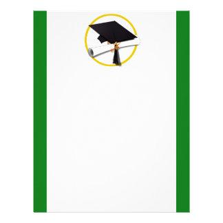 Graduation Cap w/Diploma - Green Background Letterhead