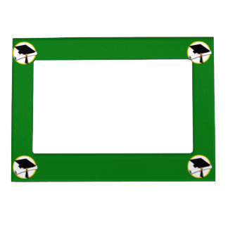 Graduation Cap w/Diploma - Green Background Magnetic Frame