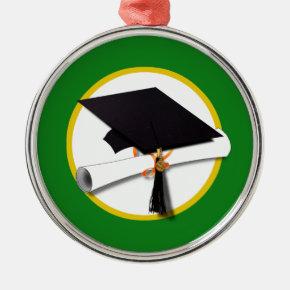 Graduation Cap w/Diploma - Green Background Metal Ornament