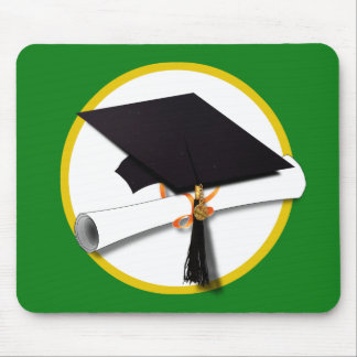 Graduation Cap w/Diploma - Green Background Mouse Pad