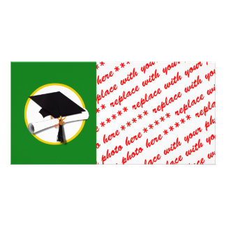 Graduation Cap w/Diploma - Green Background Picture Card