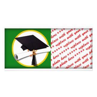 Graduation Cap w/Diploma - Green Background Customized Photo Card