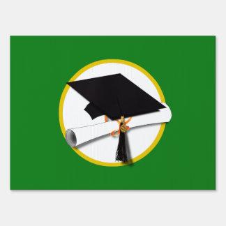 Graduation Cap w/Diploma - Green Background Sign