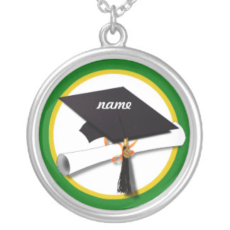 Graduation Cap w/Diploma - Green Background Silver Plated Necklace