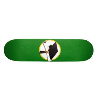 Graduation Cap w/Diploma - Green Background Skateboard Deck