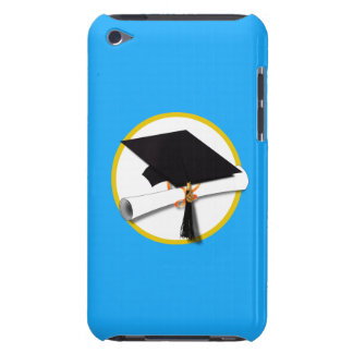Graduation Cap w/Diploma - Light Blue Background iPod Touch Cover
