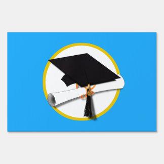 Graduation Cap w/Diploma - Light Blue Background Yard Sign