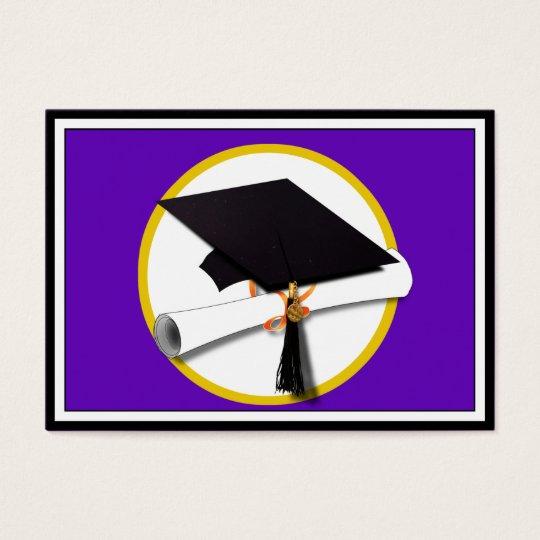Graduation Cap w/Diploma - Purple Background Business Card