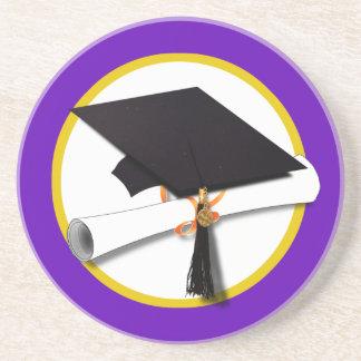Graduation Cap w/Diploma - Purple Background Drink Coaster