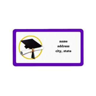 Graduation Cap w/Diploma - Purple Background Label
