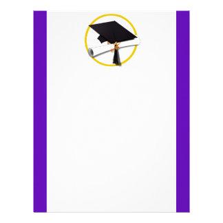 Graduation Cap w/Diploma - Purple Background Letterhead