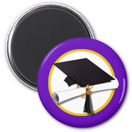 Graduation Cap w/Diploma - Purple Background 2 Inch Round Magnet
