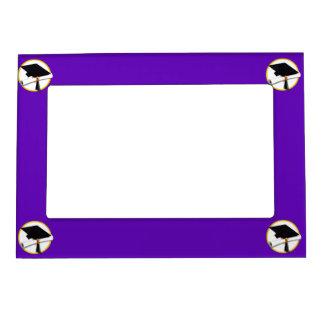 Graduation Cap w/Diploma - Purple Background Magnetic Photo Frame