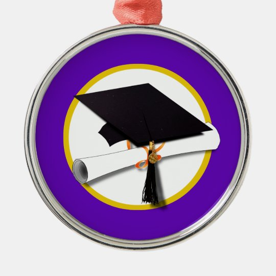 Graduation Cap w/Diploma - Purple Background Metal Ornament