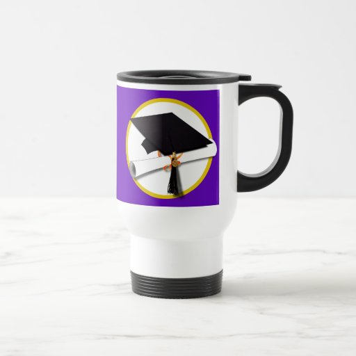 Graduation Cap w/Diploma - Purple Background 15 Oz Stainless Steel Travel Mug