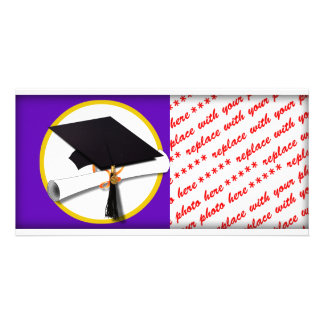 Graduation Cap w/Diploma - Purple Background Photo Card