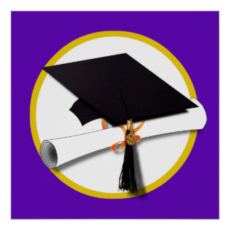 Graduation Cap w/Diploma - Purple Background Poster