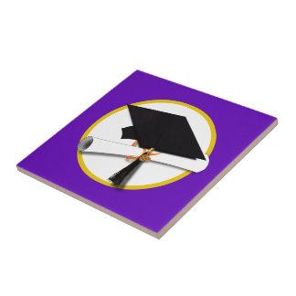 Graduation Cap w/Diploma - Purple Background Tile