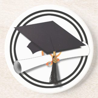 Graduation Cap with Black And White Circle Coaster