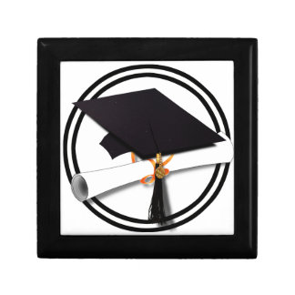 Graduation Cap with Black And White Circle Jewelry Box