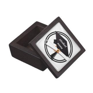 Graduation Cap with Black And White Circle Keepsake Box