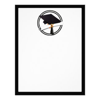 Graduation Cap with Black And White Circle Letterhead