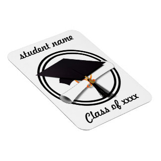 Graduation Cap with Black And White Circle Magnet