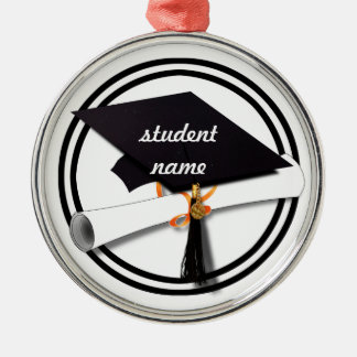 Graduation Cap with Black And White Circle Round Metal Christmas Ornament