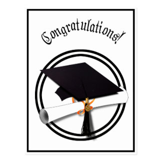 Graduation Cap with Black And White Circle Postcard