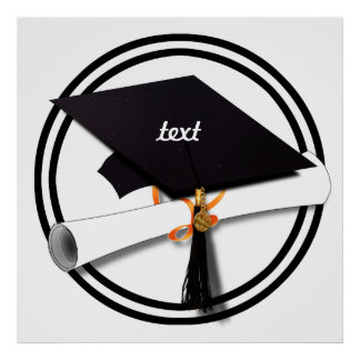 Graduation Cap with Black And White Circle Poster