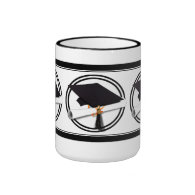 Graduation Cap with Black And White Circle Ringer Coffee Mug