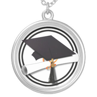 Graduation Cap with Black And White Circle Silver Plated Necklace