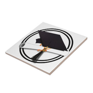 Graduation Cap with Black And White Circle Tile
