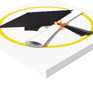 Graduation Cap with Diploma and Gold Circle Canvas Print