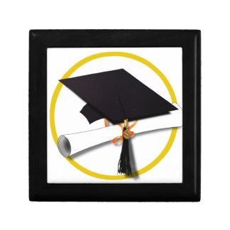 Graduation Cap with Diploma and Gold Circle Gift Box
