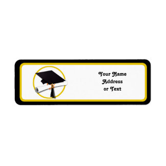 Graduation Cap with Diploma and Gold Circle Label
