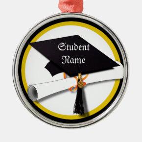Graduation Cap with Diploma and Gold Circle Metal Ornament