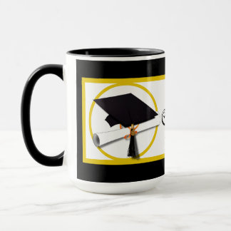 Graduation Cap with Diploma and Gold Circle Mug