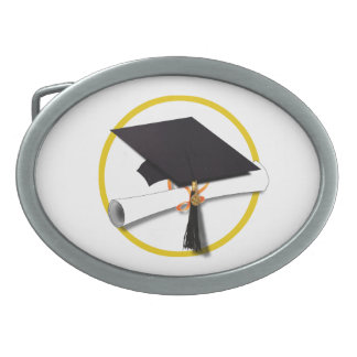 Graduation Cap with Diploma and Gold Circle Oval Belt Buckle