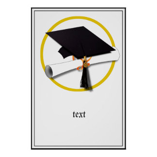 Graduation Cap with Diploma and Gold Circle Poster