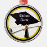 Graduation Cap with Diploma and Gold Circle Round Metal Christmas Ornament