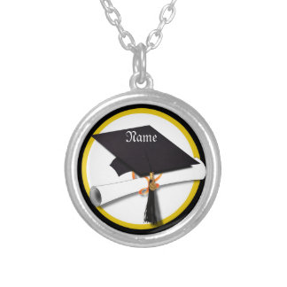 Graduation Cap with Diploma and Gold Circle Silver Plated Necklace