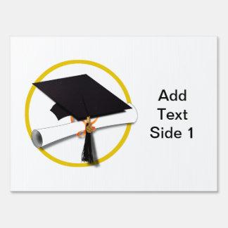 Graduation Cap with Diploma and Gold Circle Yard Sign