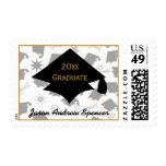 Graduation Caps Black and Gold Postage