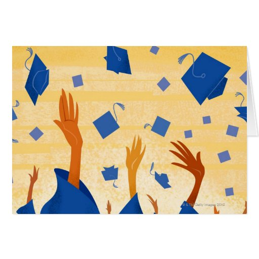 Graduation Caps in the Air Greeting Cards