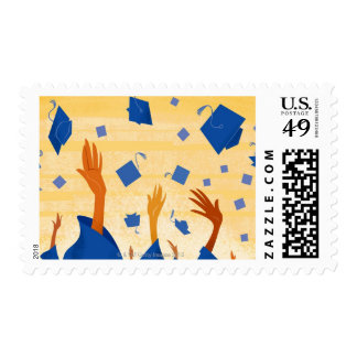 Graduation Caps in the Air Postage