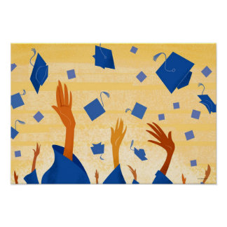Graduation Caps in the Air Poster